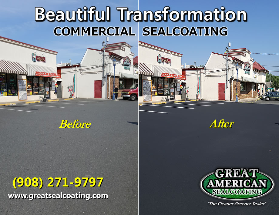 new jersey sealcoating | commercial sealcoating | before and after sealing | asphalt transformations